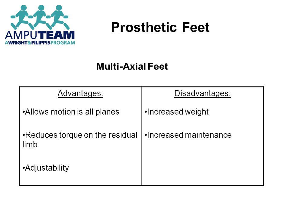 Prosthetic Feet Multi-Axial Feet Advantages: