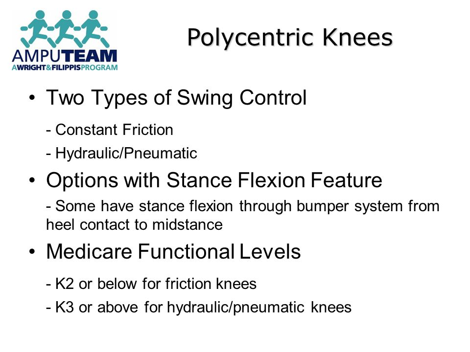 Polycentric Knees Two Types of Swing Control - Constant Friction