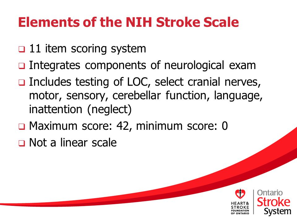 Elements of the NIH Stroke Scale