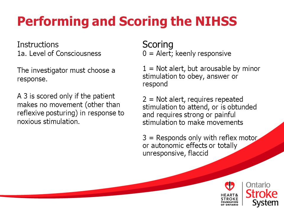 Performing and Scoring the NIHSS