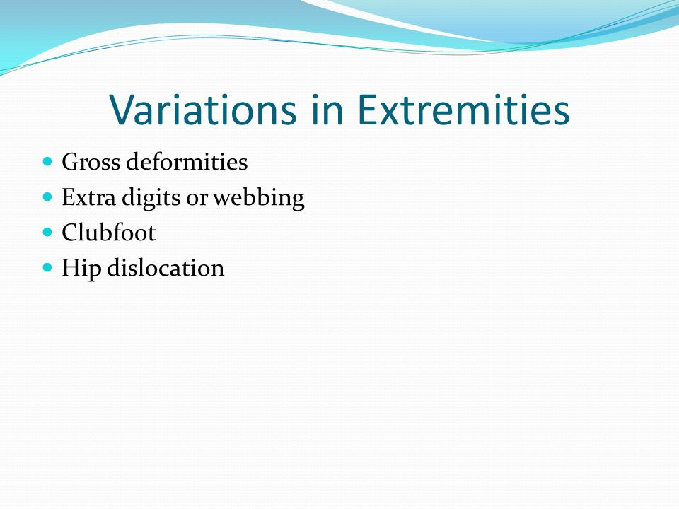 Variations in Extremities