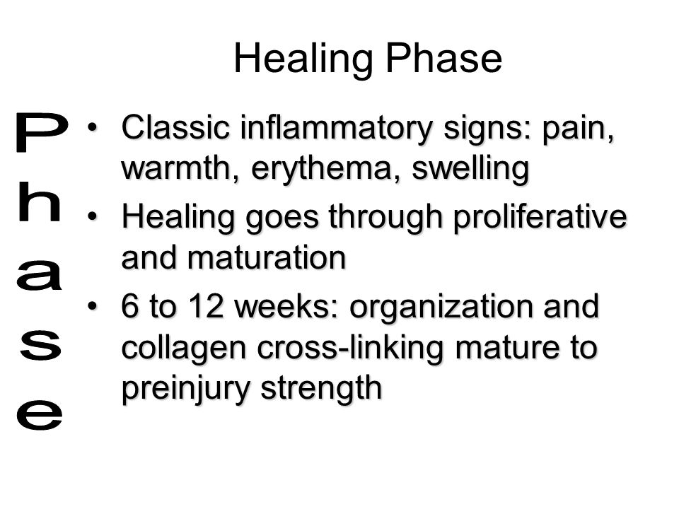 Healing Phase Classic inflammatory signs: pain, warmth, erythema, swelling. Healing goes through proliferative and maturation.
