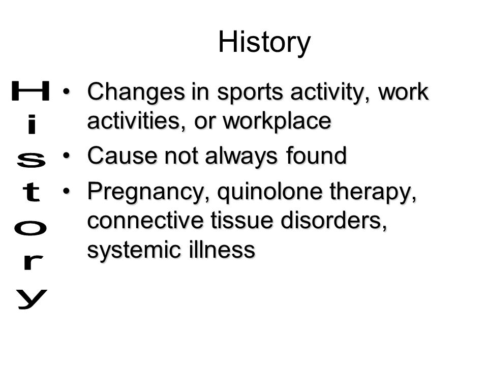 History Changes in sports activity, work activities, or workplace