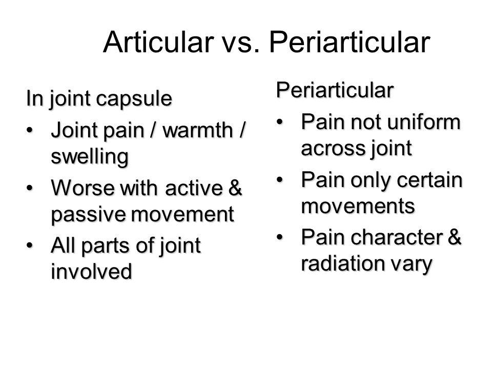 Articular vs. Periarticular