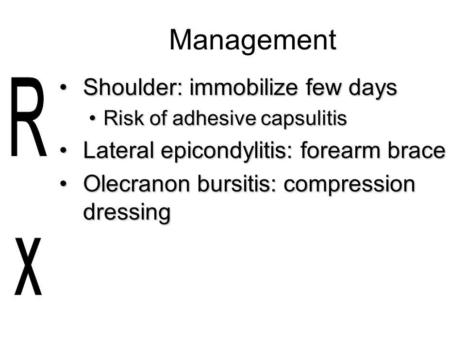 Management Shoulder: immobilize few days