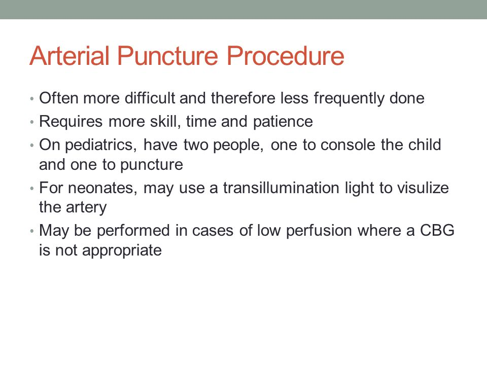 Arterial Puncture Procedure