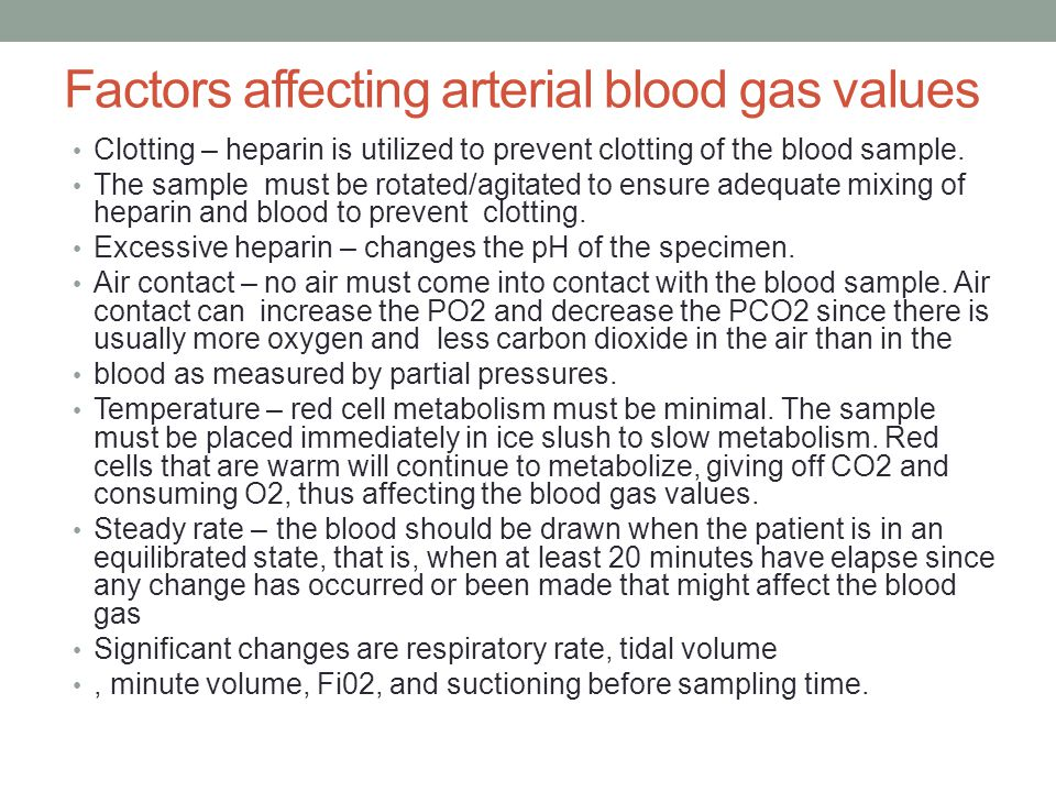 Factors affecting arterial blood gas values