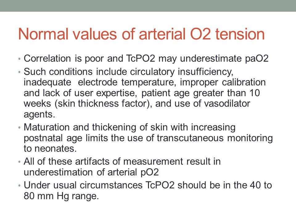 Normal values of arterial O2 tension