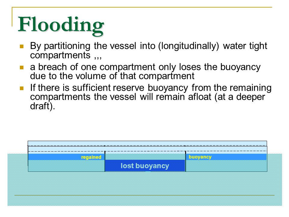 Flooding By partitioning the vessel into (longitudinally) water tight compartments ,,,