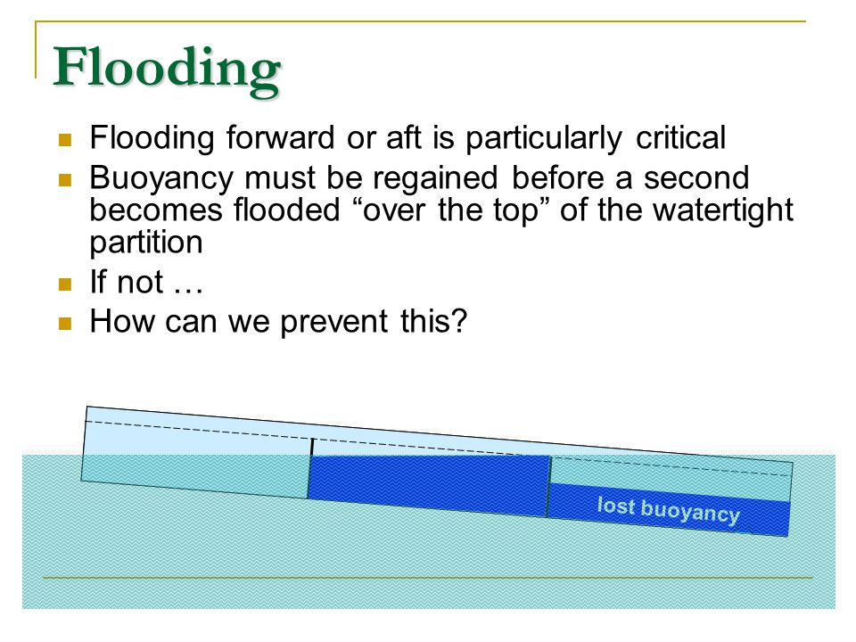 Flooding Flooding forward or aft is particularly critical
