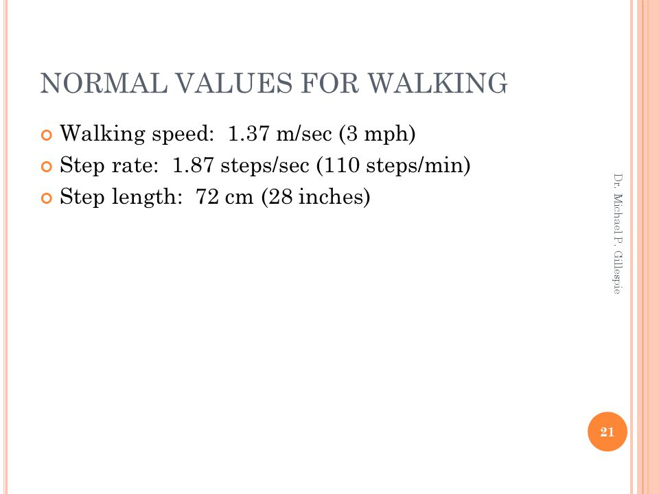 NORMAL VALUES FOR WALKING