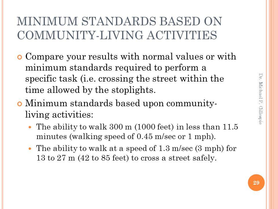MINIMUM STANDARDS BASED ON COMMUNITY-LIVING ACTIVITIES