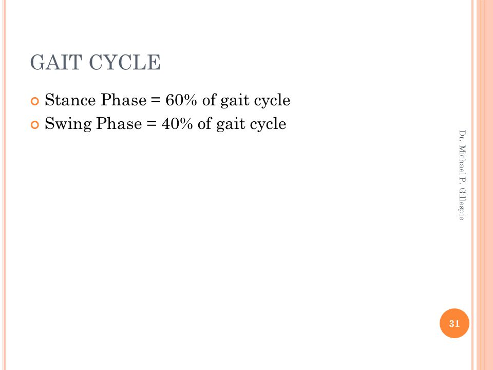 GAIT CYCLE Stance Phase = 60% of gait cycle