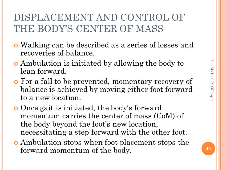 DISPLACEMENT AND CONTROL OF THE BODY'S CENTER OF MASS