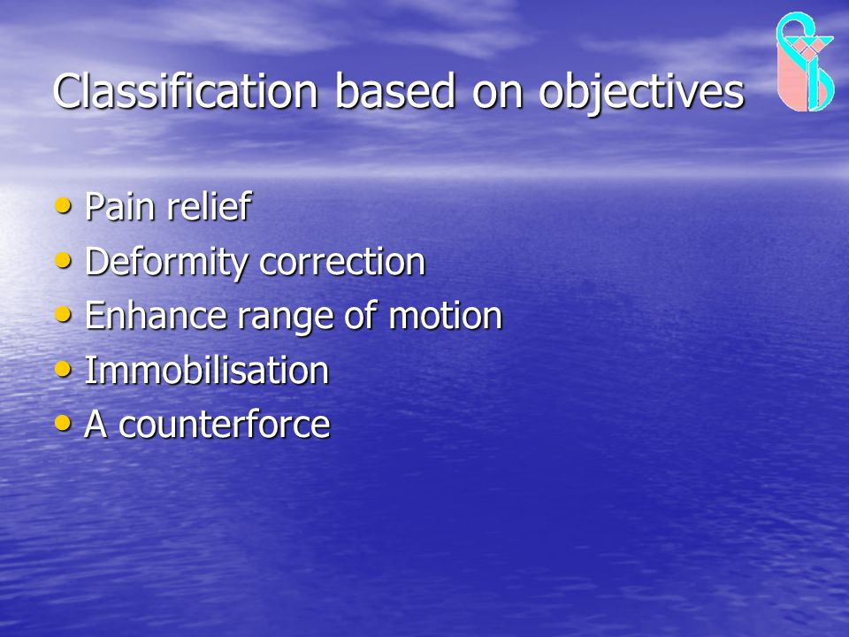 Classification based on objectives