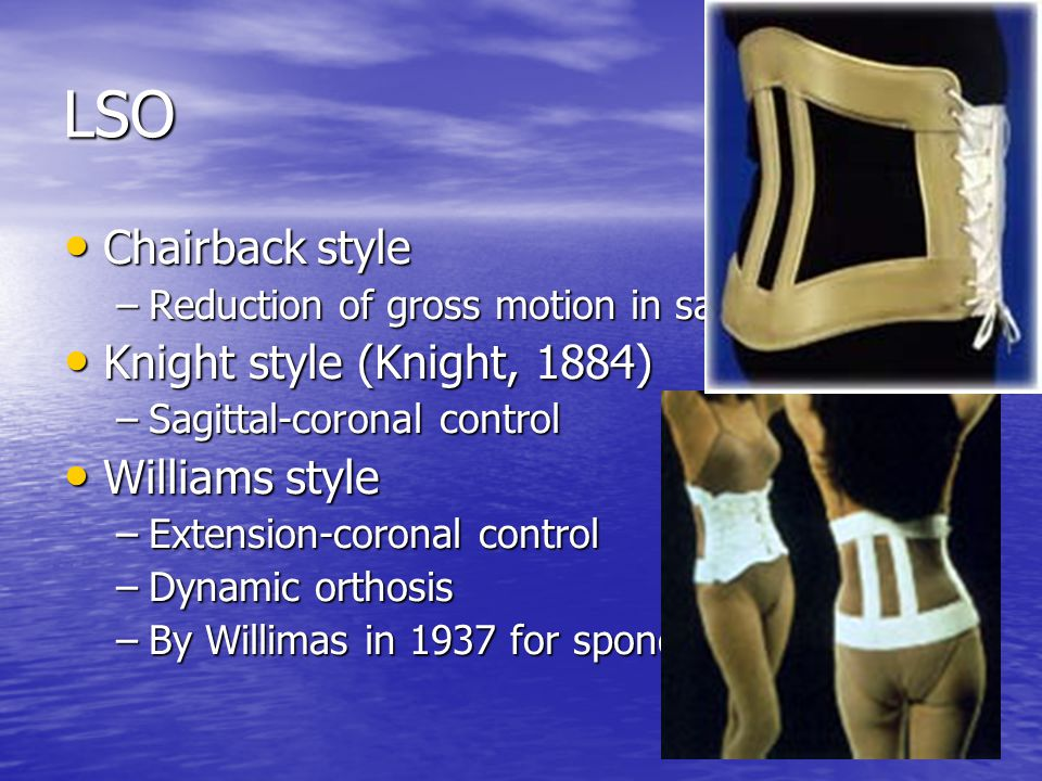 LSO Chairback style Knight style (Knight, 1884) Williams style