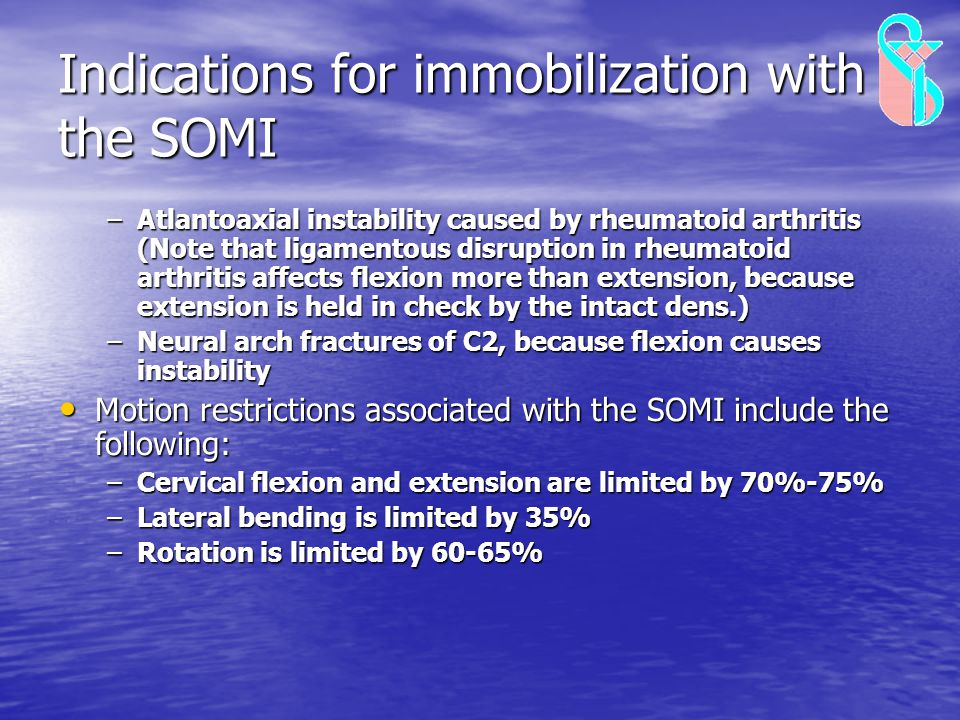 Indications for immobilization with the SOMI