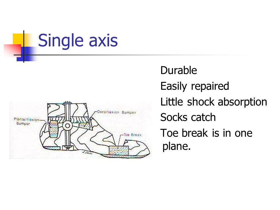 Single axis Durable Easily repaired Little shock absorption