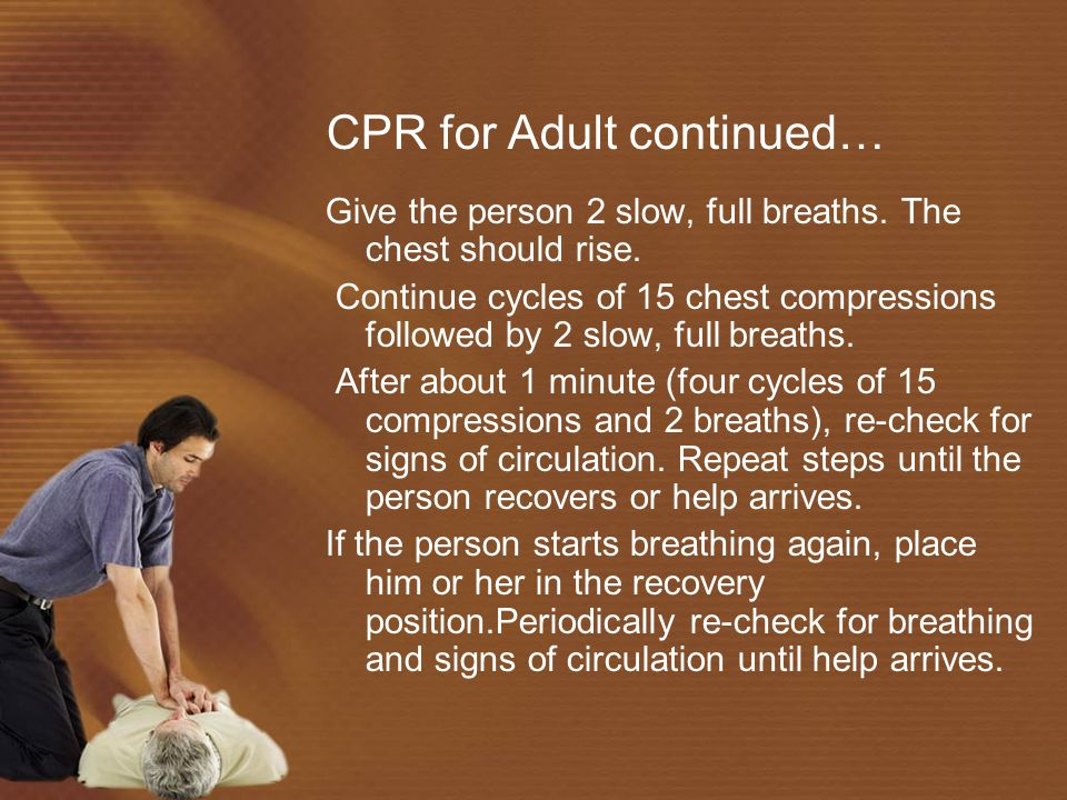 CPR for Adult continued…