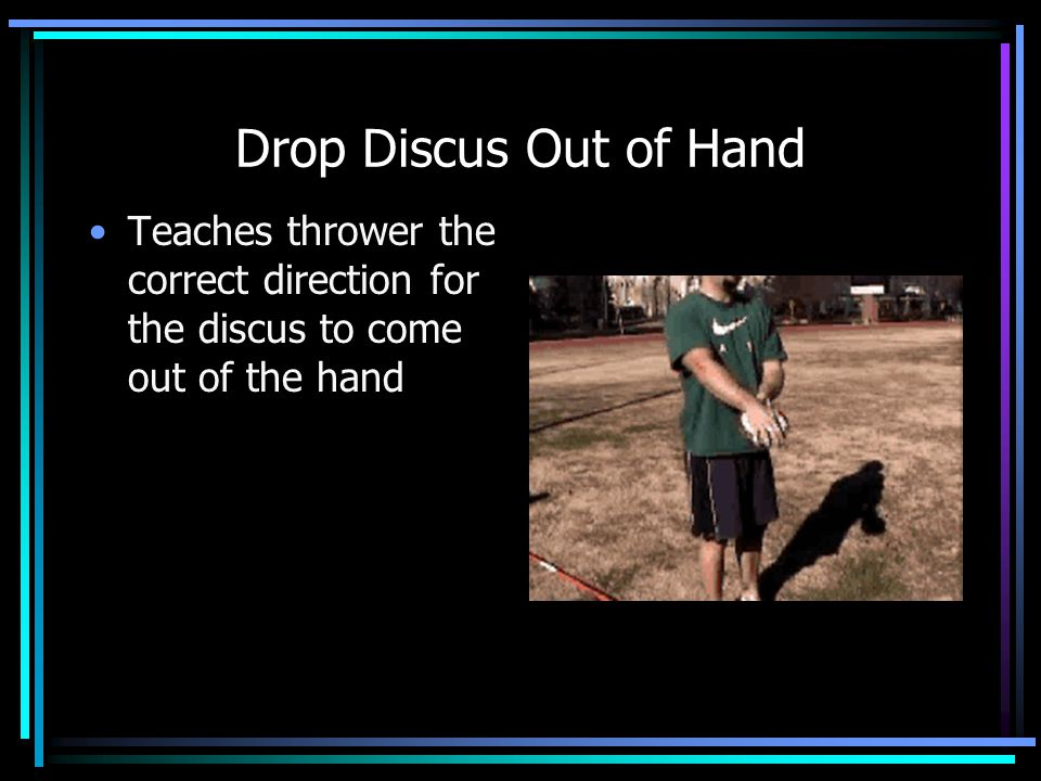 Drop Discus Out of Hand Teaches thrower the correct direction for the discus to come out of the hand.