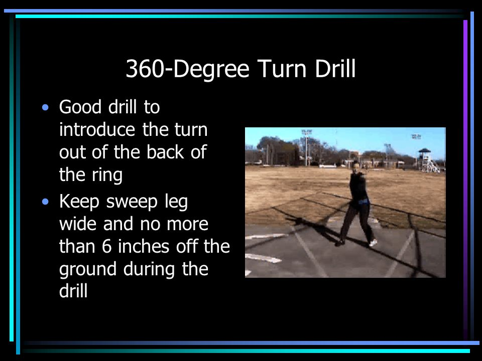 360-Degree Turn Drill Good drill to introduce the turn out of the back of the ring.