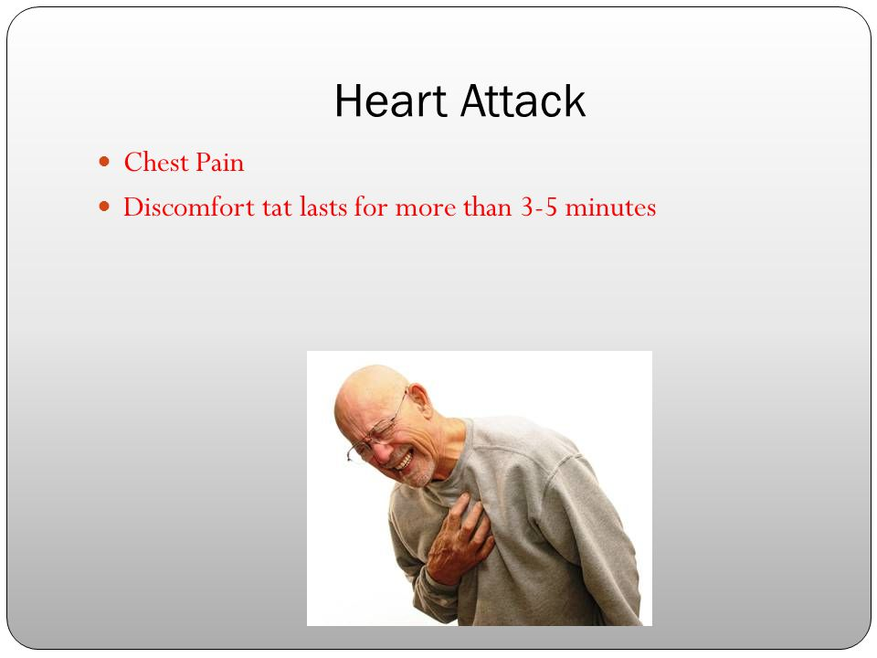 Heart Attack Chest Pain Discomfort tat lasts for more than 3-5 minutes