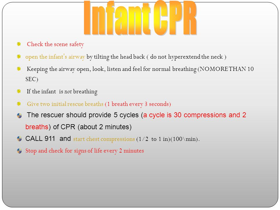 Infant CPR Check the scene safety