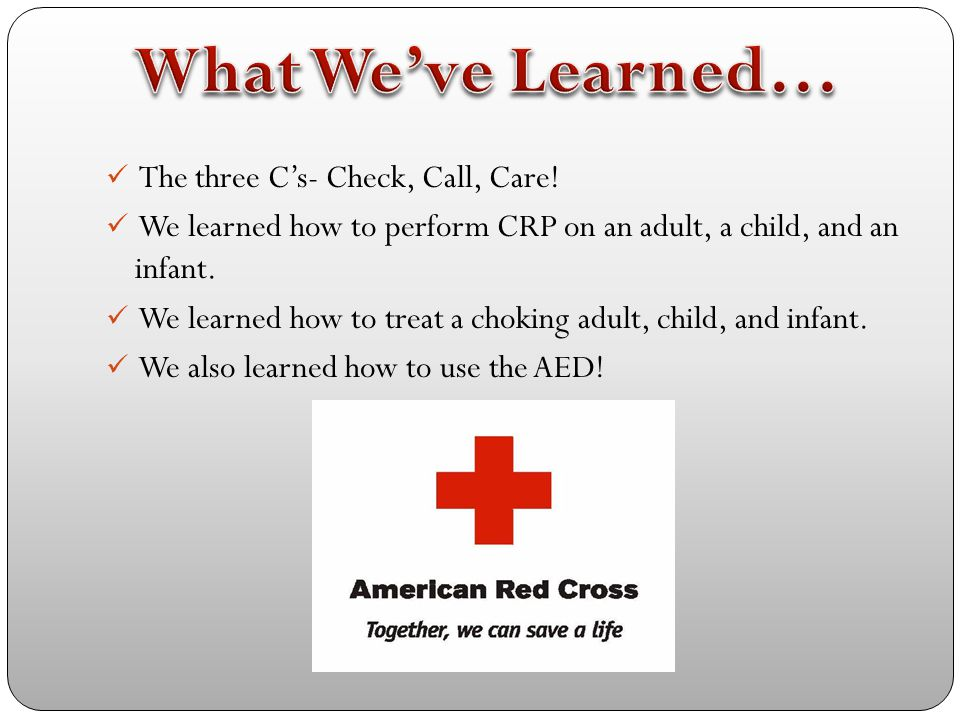 What We've Learned… The three C's- Check, Call, Care!