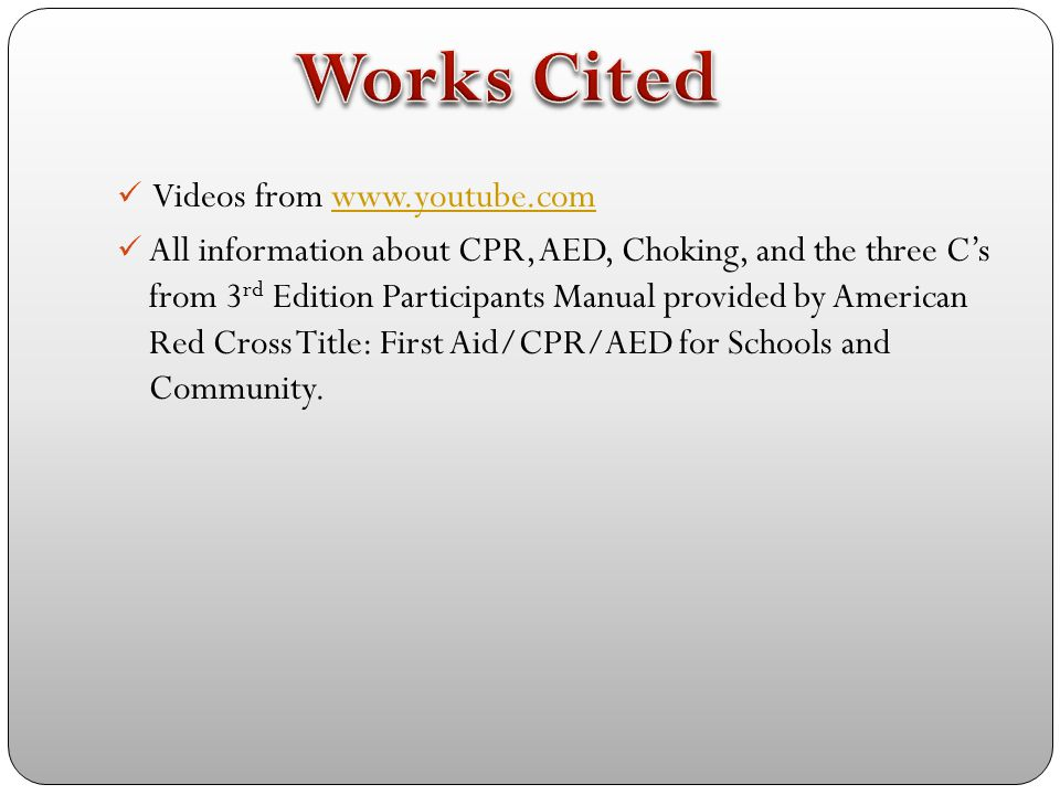 Works Cited Videos from www.youtube.com