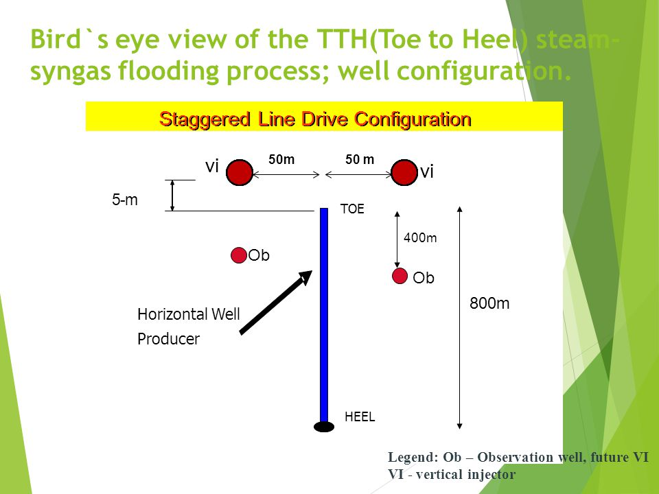 Bird`s eye view of the TTH(Toe to Heel) steam-syngas flooding process; well configuration.