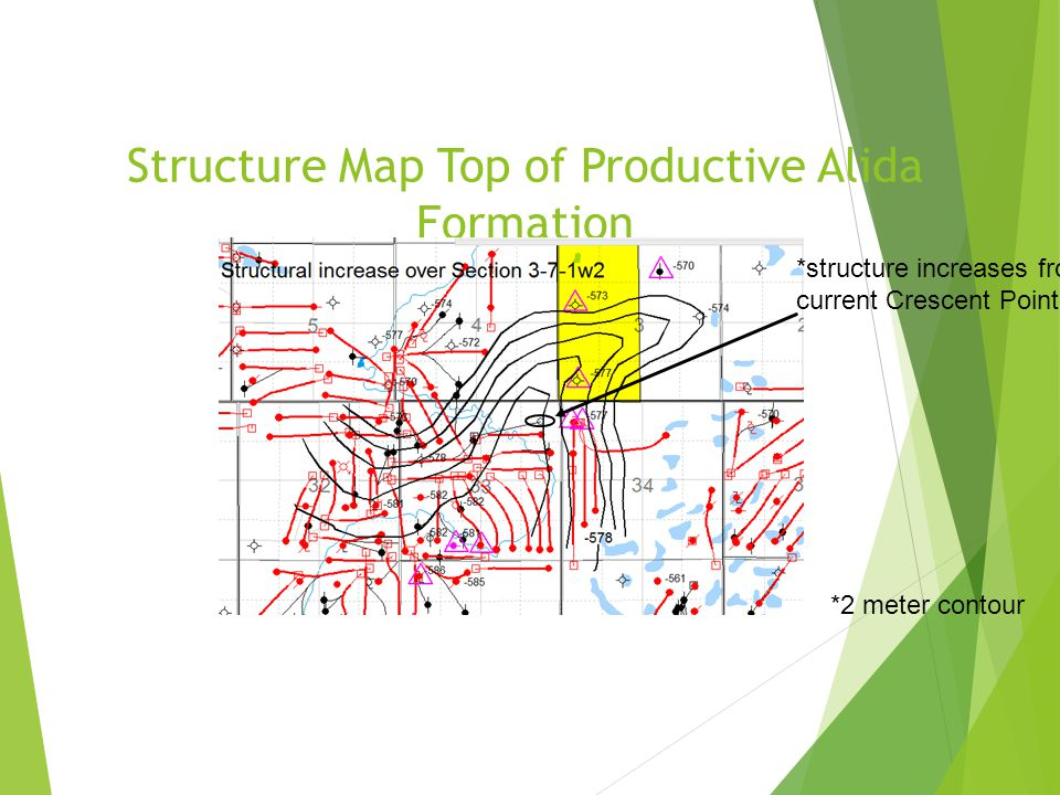 Structure Map Top of Productive Alida Formation