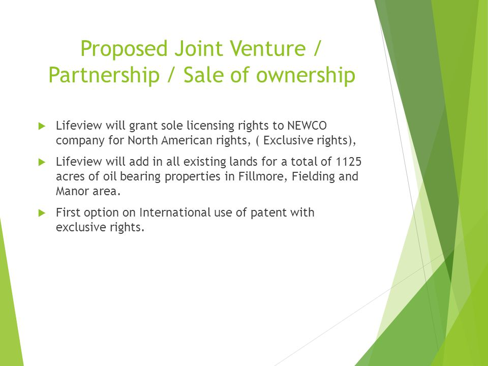 Proposed Joint Venture / Partnership / Sale of ownership