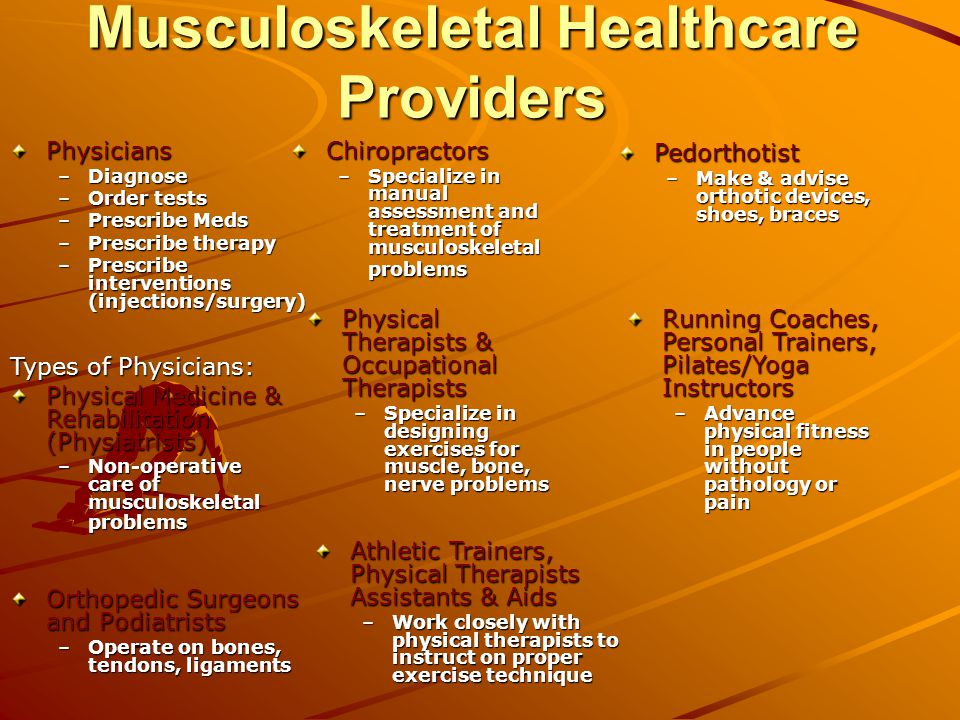 Musculoskeletal Healthcare Providers