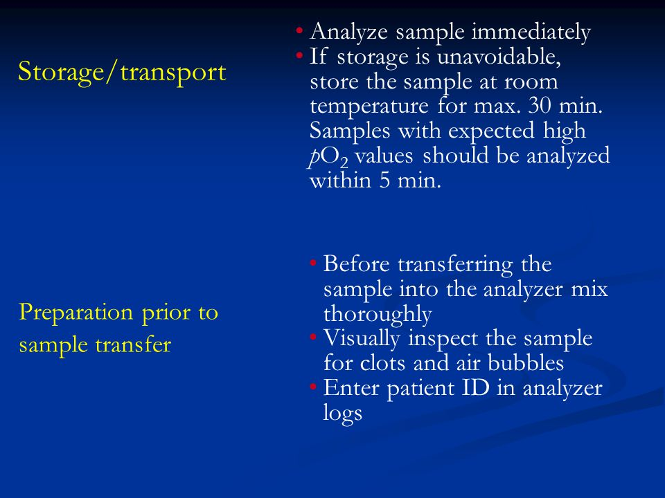 Storage/transport Analyze sample immediately