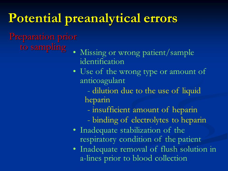 Potential preanalytical errors