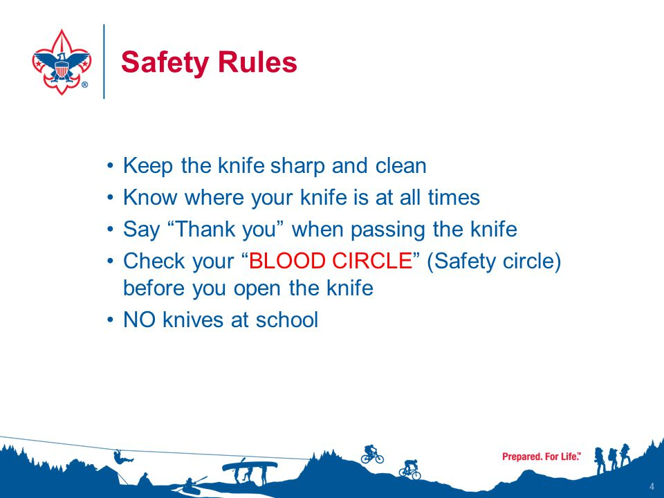 Safety Rules Keep the knife sharp and clean