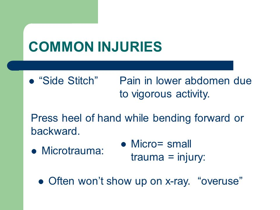 COMMON INJURIES Side Stitch