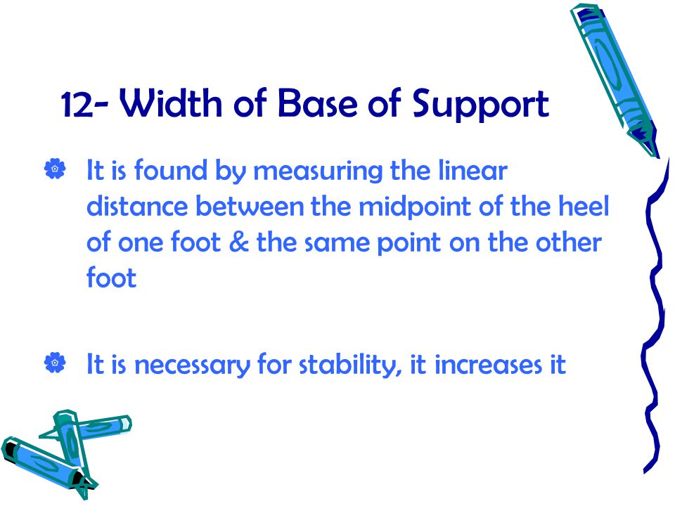 12- Width of Base of Support
