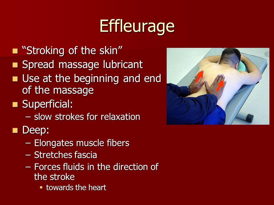 Effleurage Stroking of the skin Spread massage lubricant