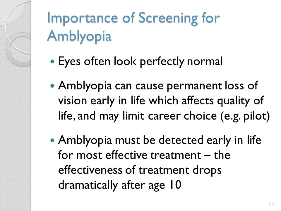 Importance of Screening for Amblyopia