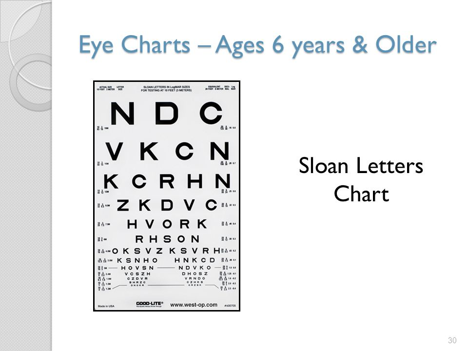 Eye Charts – Ages 6 years & Older