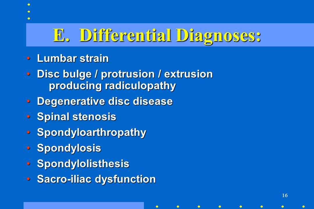 E. Differential Diagnoses: