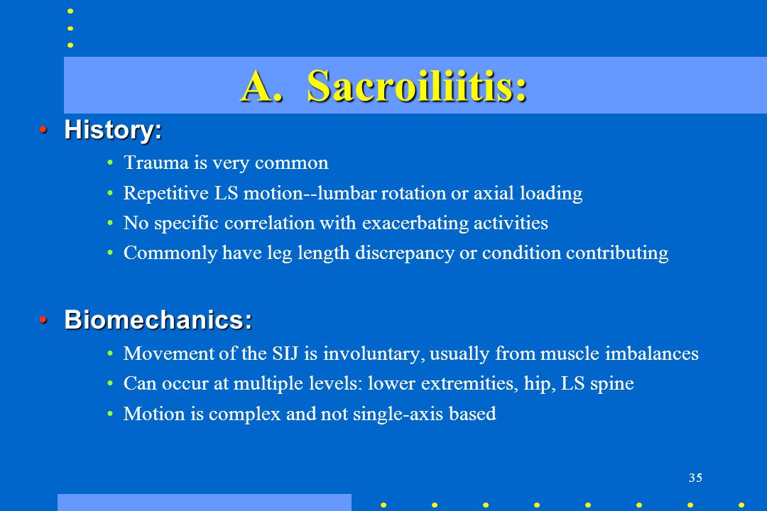 A. Sacroiliitis: History: Biomechanics: Trauma is very common