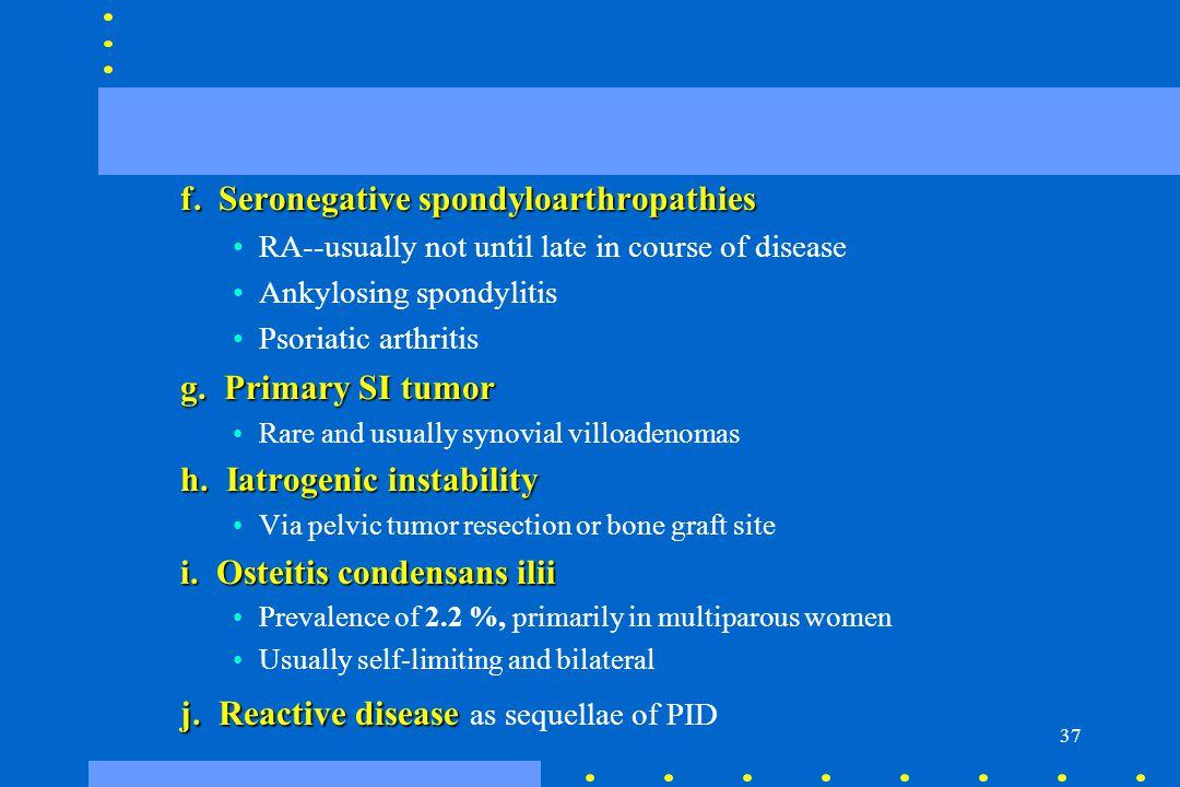 f. Seronegative spondyloarthropathies