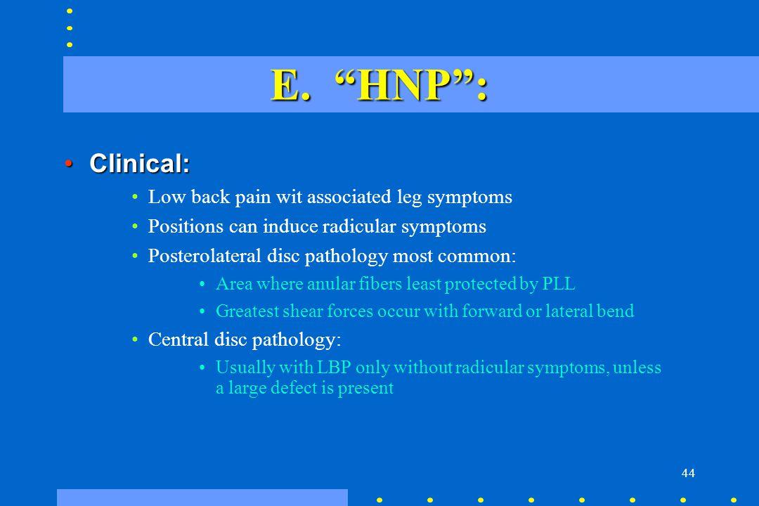 E. HNP : Clinical: Low back pain wit associated leg symptoms