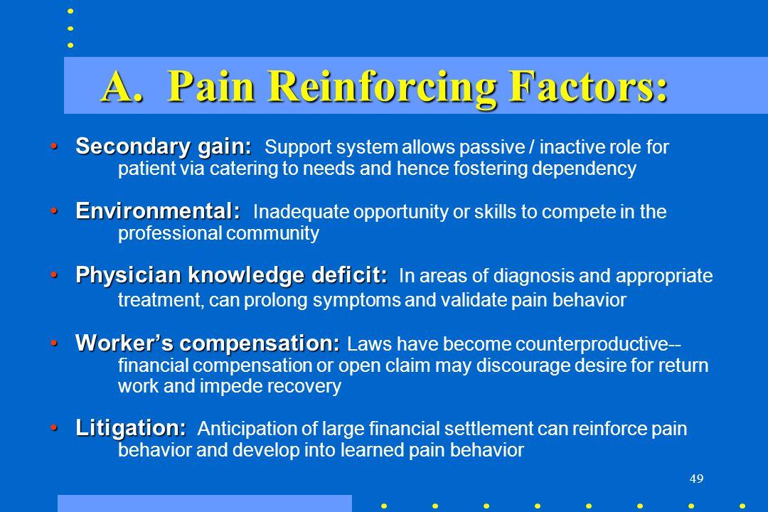 A. Pain Reinforcing Factors: