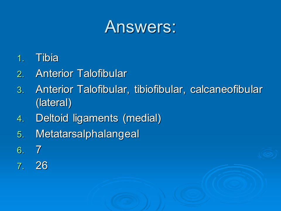 Answers: Tibia Anterior Talofibular