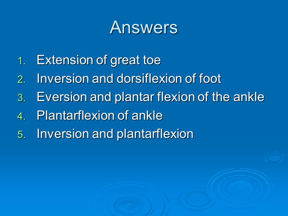 Answers Extension of great toe Inversion and dorsiflexion of foot