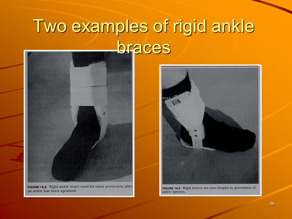 Two examples of rigid ankle braces