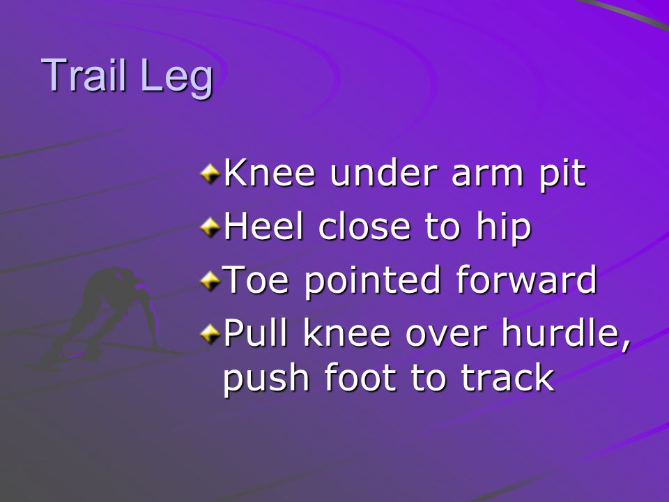 Trail Leg Knee under arm pit Heel close to hip Toe pointed forward